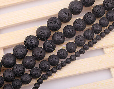 "Natural Black Volcanic Lava Gemstone Round Beads 15.5""4mm 6mm 8mm 10mm 12mm 14mm"