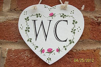 Rustic Shabby Chic Heart Roses WC Toilet Hanging Sign Plaque