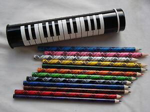 """1 Dz Colored PIANO Pencils in Metal PIANO Tube 7.25"""" Long Great MUSIC Gift NEW"""