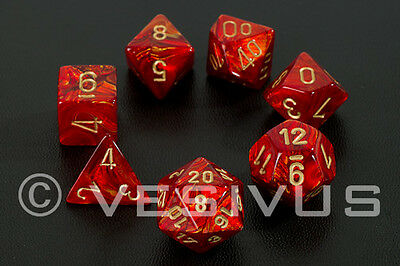 DICE Chessex Scarab SCARLET RED 7-Dice Set Marble Shiny d20 d10 RPG Oily 27414