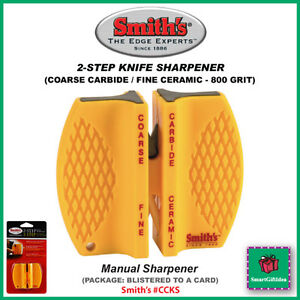 2-STEP-KNIFE-SHARPENER-COARSE-CARBIDE-800-GRIT-CERAMIC-SMITHS-CCKS-Blister