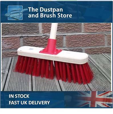 """Stiff Sweeping Yard Brush 11"""" Red PVC Hard Broom with Handle Outdoor Stable"""