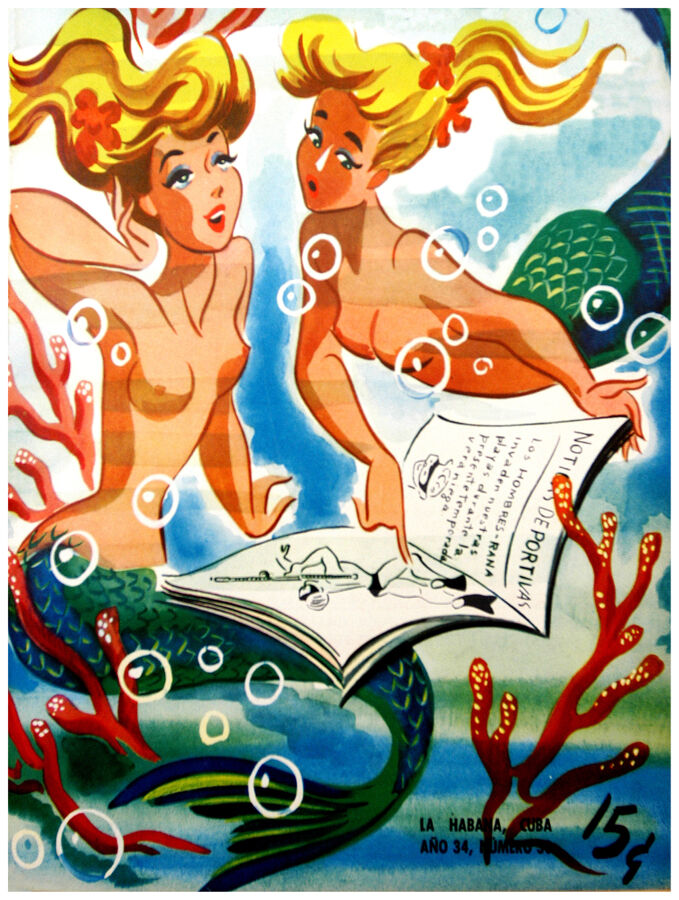 180.Art Decor POSTER.Graphics to decorate home office.Sirens reading newspaper.