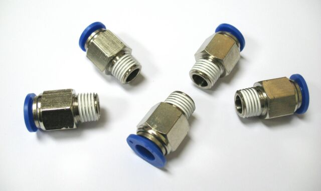 "5pc Push In Fittings 3/8"" OD-1/4"" NPT Thread Straight Male MettleAir MTC3/8-N02"