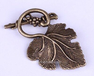 Wholesale 10sets Grape Leaf Toggle Clasp Silver/Golden/Bronze Colour