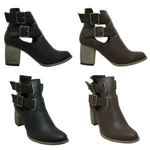 NEW-Womens-Cut-Out-Western-Cowboy-Block-Heel-Buckled-Elaticated-Ankle-Boot