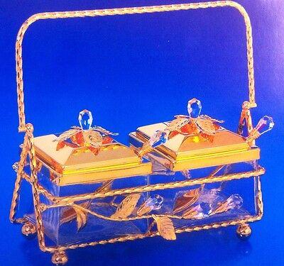 Zuckerdose mit Swarowski Kristallen Bestückt  Gold Plattiert  inkl.Teelöffel Neu