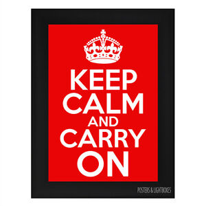 KEEP-CALM-AND-CARRY-ON-RED-Framed-Poster-A4-Black-Frame