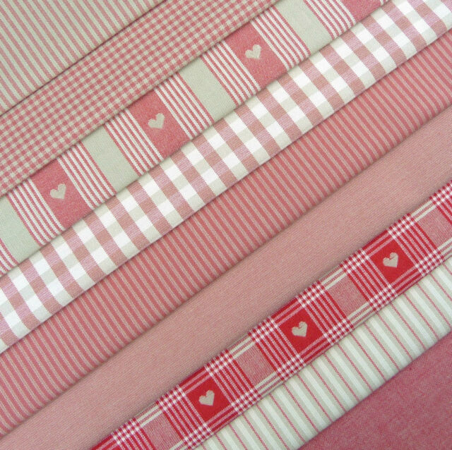 Swedish Farmhouse ~ Vintage Red Linen Heart Fabric Remnant Pack / check stripe
