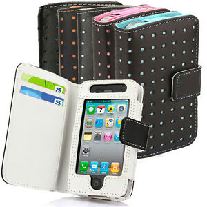 Dot-Wallet-Leather-Credit-Card-Holder-Flip-Pouch-Case-Cover-For-iPhone-4-4S-4G