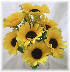 5-YELLOW-SUNFLOWERS-Silk-Fall-Wedding-Bouquet-Flowers