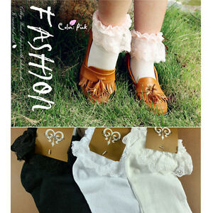 Vintage-Lace-Ruffle-Frilly-Ankle-Socks-Fashion-Ladies-Princes-Black-White-Retro
