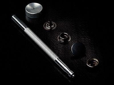 25 Press studs 15mm+tool heavy duty snap popper fastener black silver gold