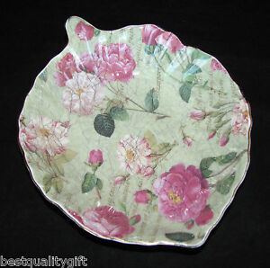 ROYAL-DANUBE-GREEN-w-PINK-ROSES-PORCELAIN-LEAF-SMALL-SERVING-BOWL-CANDY-DISH-NEW