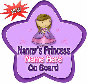 Personalised-Nannys-Princess-Star-Shaped-Baby-On-Board-Car-Sign-New-pinpur