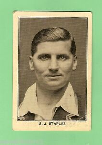 1928 ENGLAND'S TEST MATCH CRICKETERS CARD - #12 S.J. STAPLES