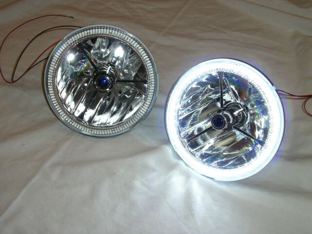 "7"" Tri Bar Blue Dot Street Hot Rat Rod H4 Headlights w/ LED Halo Turn Signals"