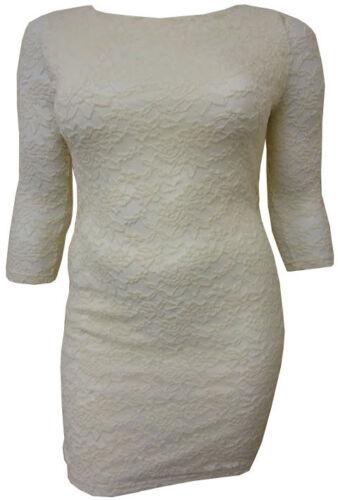 Mesdames Plus Taille Floral dentelle sur manches 3//4 sortir robe 16-26 Neuf