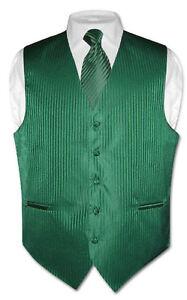 Men-039-s-Dress-Vest-amp-NeckTie-Emerald-Green-Vertical-Stripes-Design-Set
