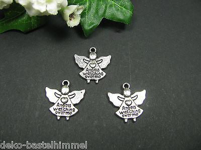 4 Metallanhänger Engel in silber - geschwärzt, beidseitig bedruckt, Anhänger
