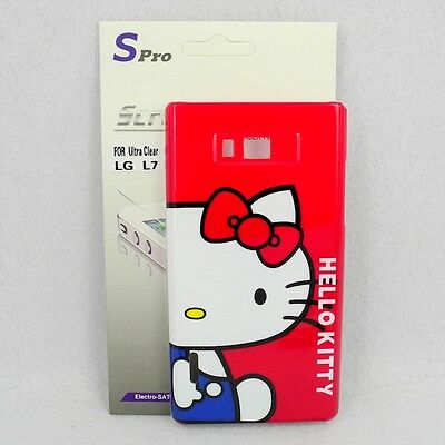 For LG Optimus L7 P700/P705 Hello Kitty Case #E + Spro Screen Protector