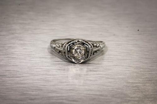 Antique 1920s .25ct VS G Old Euro Diamond 18k White Gold Filigree Ring