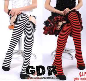 2-STYLE-GLP-Gothic-Lolita-Punk-Rhombus-FRAG-Knee-Hi-Stockings-342