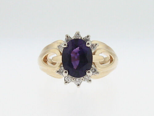 Natural Amethyst Diamonds Solid 14k Yellow gold Ring FREE Sizing