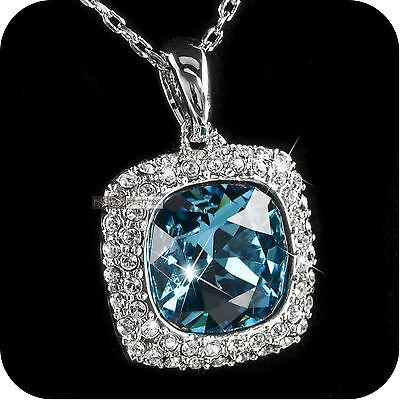 18k white gold gp made with SWAROVSKI crystal sky blue pendant necklace