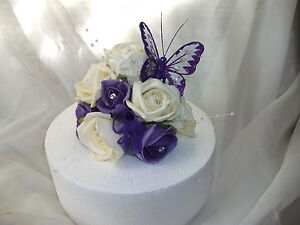 WEDDING FLOWER CAKE TOPPER Cadburys Purple And Ivory With Butterfly