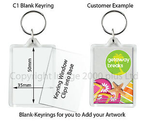 Blank-Clear-Photo-Keyrings-Packs-50-or-100-Large-Jumbo-Passport-Square-Round