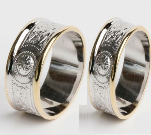 14k Gold Irish Handcrafted Celtic Warrior ring wedding set 9mm and 6mm