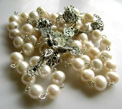 Bali Sterling 925 Silver Beads & AAA Real Pearl Rosary Crucifix CROSS NECKLACE