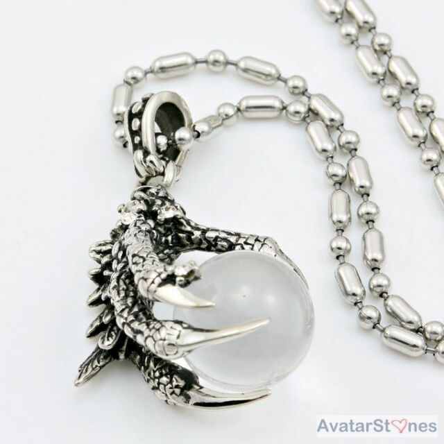 Dragon Hand & Pearl Stainless Steel Pendant Necklace Chain Cool P4V47BD
