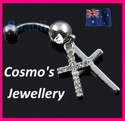Double Cross Dangle Belly Button Navel Ring Body Piercing Jewelry 14GA JW109