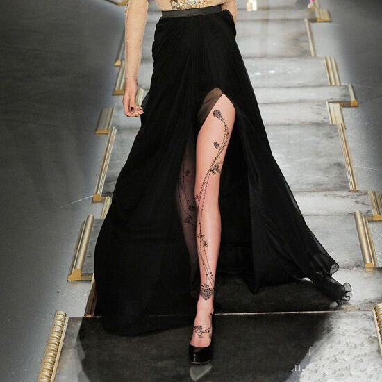 Womens Tattoo floral Sexy 15D/40D/120D velvet Pantyhose Stockings Tights