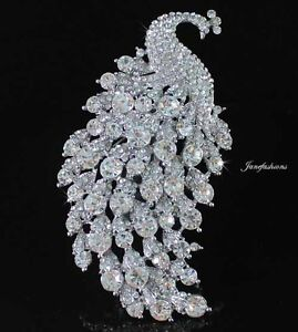 HUGE-SEXY-PEACOCK-BROOCH-PIN-PENDANT-AUSTRIAN-RHINESTONE-CRYSTAL-CLEAR-B1128
