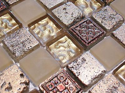 Glasmosaik Mosaik Fliesen Klarglas metall Ornament Gold antik Serie Aztek