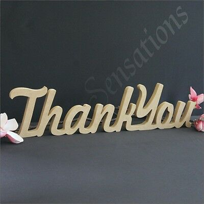 15cm Freestanding Thank You Wooden Raw MDF Wedding Decor Bomboniere Word Name