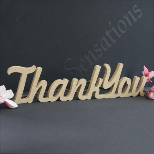 15cm Freestanding Thank You Wooden Raw MDF Wedding Decor Bomboniere Word Name