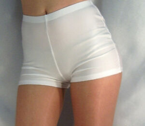 RETRO STYLE HIGH WAISTED SHINY SPANDEX SHORTS HOT PANTS WHITE XS ...