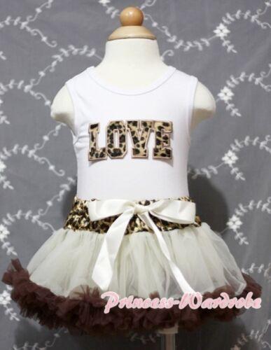 Newborn Baby Leopard Waist Pettiskirt White Top with Love Print Girl Set 3-12Mos