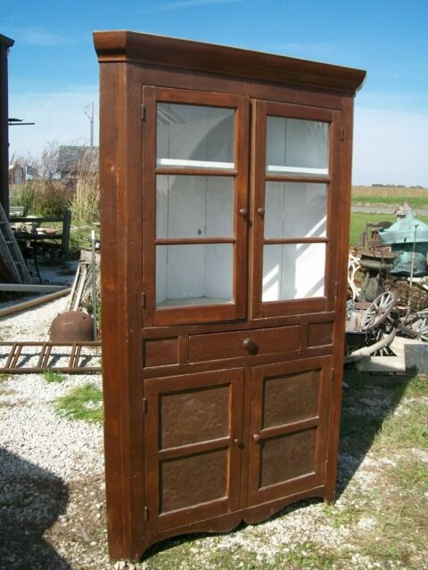 Mid 1800's Poplar Wood Corner Cupboard - Country Antique Wooden Display Cabinet