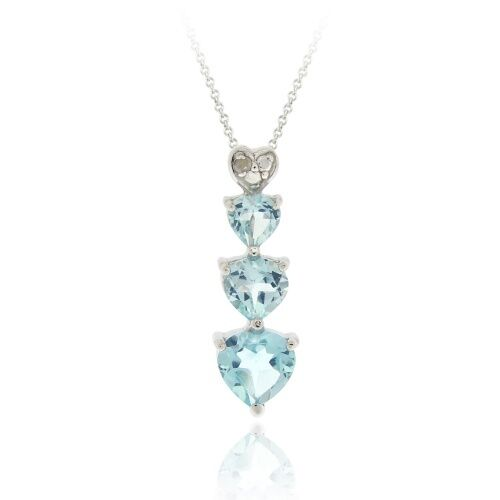 925 Silver Blue Topaz & Diamond Heart Journey Necklace