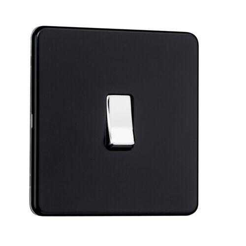 SPECIAL OFFER Steel Screwless Flatplate 1 Gang Switch Chrome Nickel /& Black