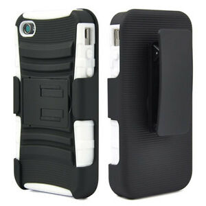 NEW-WHITE-DUAL-LAYER-CASE-COVER-BELT-CLIP-HOLSTER-W-STAND-FOR-APPLE-IPHONE-4-4S