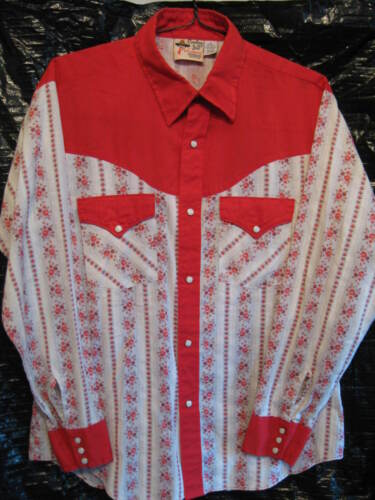 ATLANTIC WESTERNER COWBOY JOE Vintage Mens Western Rodeo Pearl Snap Shirt Size L