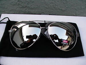 Brand-New-Aviator-Sunglasses-Full-Silver-Mirror-Top-Av-Uv-400-Metal