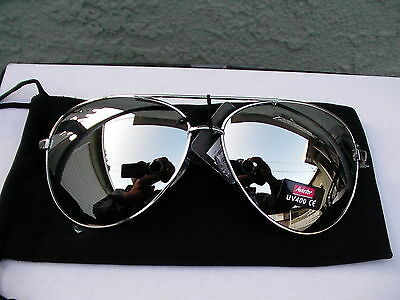 Brand New nice style Sunglasses Full Silver Mirror Top Av UV 400 Metal