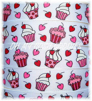 7/8 VALENTINE PEPPERMINT STRIPE CUPCAKE KISSES GROSGRAIN RIBBON FOR BOW 5 YARDS